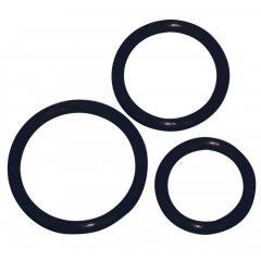 Szilikon péniszgyűrű trió - fekete