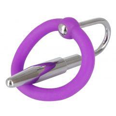 Penisplug - szilikon makkgyűrű hűgycsőkúppal (lila-ezüst)