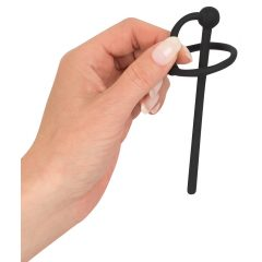 Penisplug - szilikon makkgyűrű üreges húgycsőrúddal (fekete)
