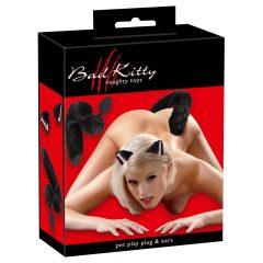 Bad Kitty - cicafül cicafarokkal anál dildó szett - fekete (2 részes)