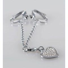 Strasszos szíves intim ékszer (ezüst)
