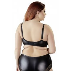 Cottelli Plus Size - csipkés fényes merevített melltartó (fekete)