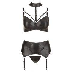 Cottelli Plus Size - fényes, fém gyűrűs fehérnemű szett (fekete)