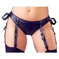 Cottelli Bondage - fényes, nyitott melltartó szett bilincsekkel (fekete)