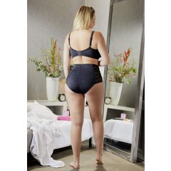 Cottelli Plus Size - oldalt fűzős bikini alsó (fekete)