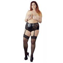 Cottelli Plus Size - fényes csíkos harisnyatartós alsó (fekete)