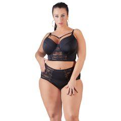 Cottelli Plus Size - pántos-csipkés női alsó (fekete)