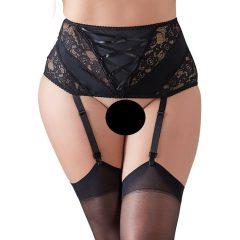 Cottelli Plus Size - csipkés, fűzős harisnyatartó (fekete)