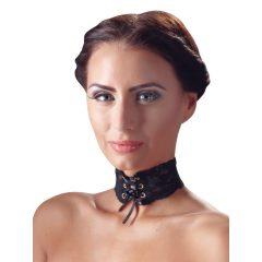 Cottelli - Széles, fűzős csipke nyakpánt (fekete)