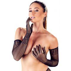 Cottelli Collection - hosszú, mintás necc kesztyű (fekete)