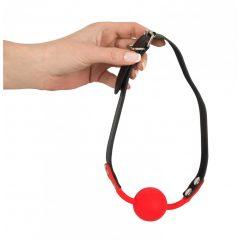 Bad Kitty - szilikon szájpecek műbőr pánttal (piros)