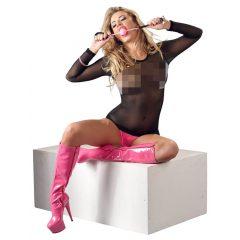 Bad Kitty - szilikon szájpecek műbőr pánttal (pink)
