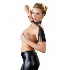 Bad Kitty - kis korbács műbőr szálakkal (fekete)
