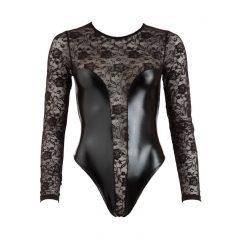 Cottelli - fényes-csipke body (fekete)