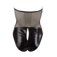 Cottelli - fényes-fűzős nyakpántos body (fekete)