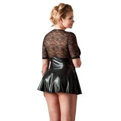 Cottelli Plus Size - fényes ruha piros fűzővel (fekete)