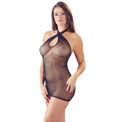 Mandy Mystery - kereszt nyakpántos necc ruha (fekete)