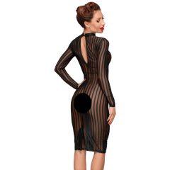 Noir - hosszúujjú, áttetsző csíkos ruha (fekete)