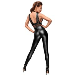Noir - Necc betétes, fényes ujjatlan overall (fekete)