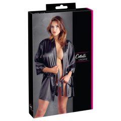 Cottelli - szatén-csipke, rövid kimonó (fekete)