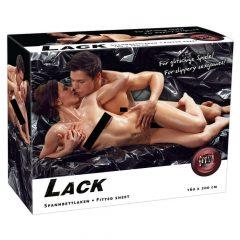 Fényes, gumírozott lepedő - fekete (160 x 200cm)