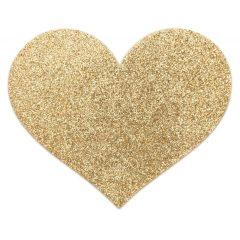 Bijoux Indiscrets Flash - csillogó szív mellbimbómatrica (arany)