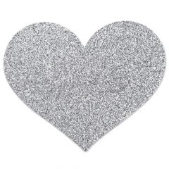 Bijoux Indiscrets Flash - csillogó szív mellbimbómatrica (ezüst)