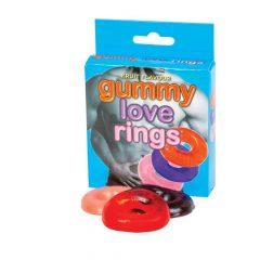 Gumicukor péniszgyűrű szett (3db) - cseresznye
