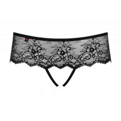 Obsessive Merossa - strasszos, nyitott női tanga (fekete)
