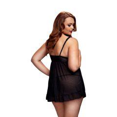 BACI Plus Size - nyitott, pöttyös babydoll (fekete)