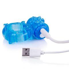 Screaming Charged BigO - akkus, csillagos péniszgyűrű (kék)
