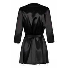 Obsessive Satinia Robe - rövid szatén köntös tangával (fekete)